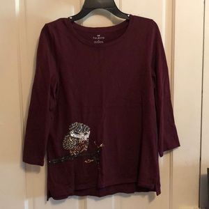 Brand New without tags Talbots sequence Owl top